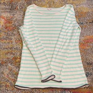 Striped mint and white Gap sweater.